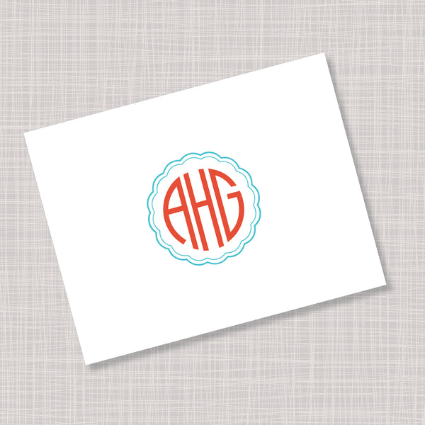 Fun Circular Font Monogram Orange & Blue Note Cards
