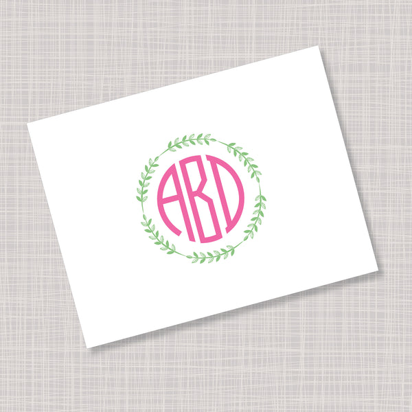 Circular Font Monogram Pink Greenery Note Cards