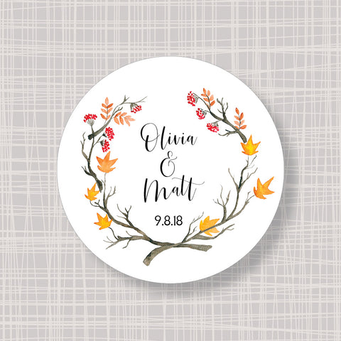 "Fall Autumn Branches Round 2"" Wedding Shower Gift Labels Stickers"
