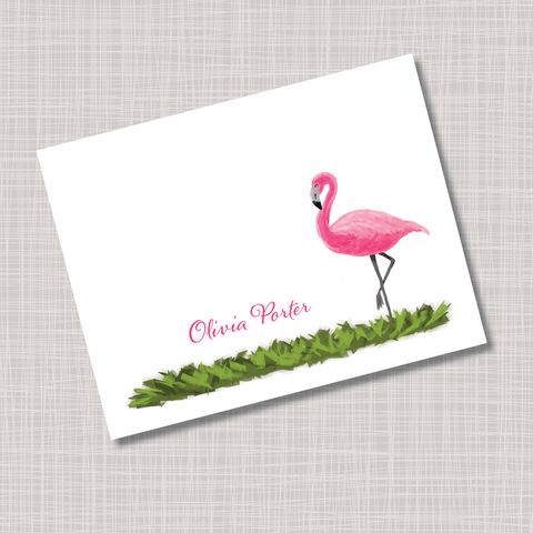 Pink Flamingo & Grass Note Cards
