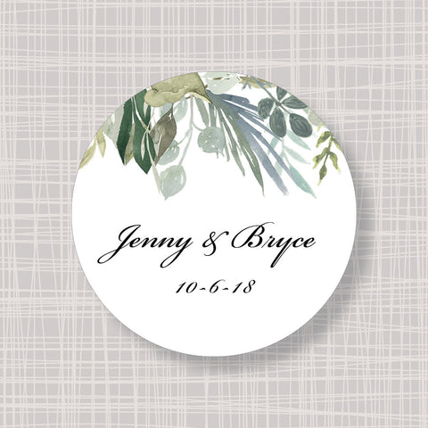 "Floral Leaves Greenery Round 2"" Wedding Shower Gift Labels Stickers"