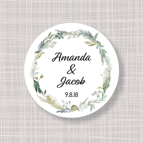 "Greenery Wreath Round 2"" Wedding Shower Gift Labels Stickers"