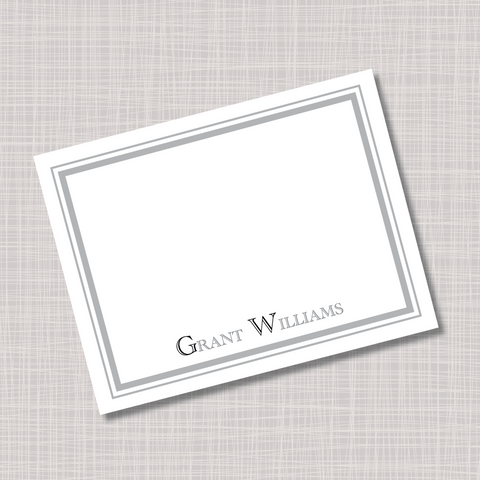 Gray & Black Men's Masculine Name Note Cards