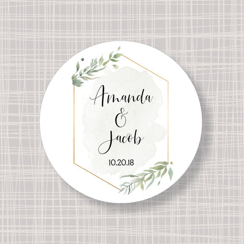 "Gold & Greenery Foliage Round 2"" Wedding Shower Gift Labels Stickers"