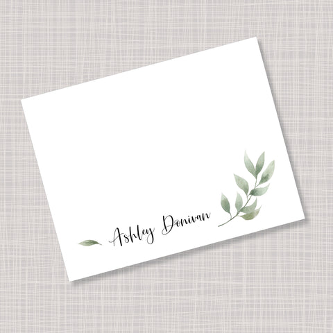 Greenery Leaves Note Cards