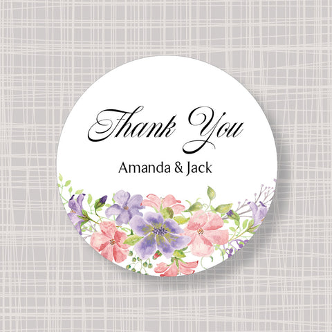 "Pastel Flowers Round 2"" Wedding Shower Gift Labels Stickers"