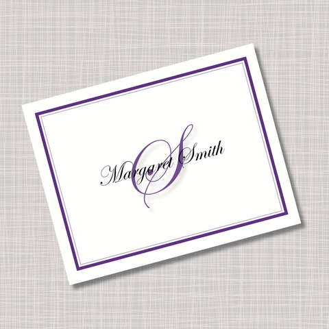 Purple Monogram Note Cards