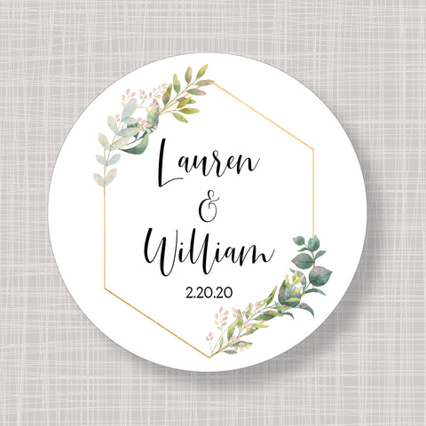 "Spring & Gold Flowers Round 2"" Wedding Shower Gift Labels Stickers"