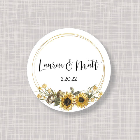 "Sunflower Round 2"" Wedding Shower Gift Labels Stickers"