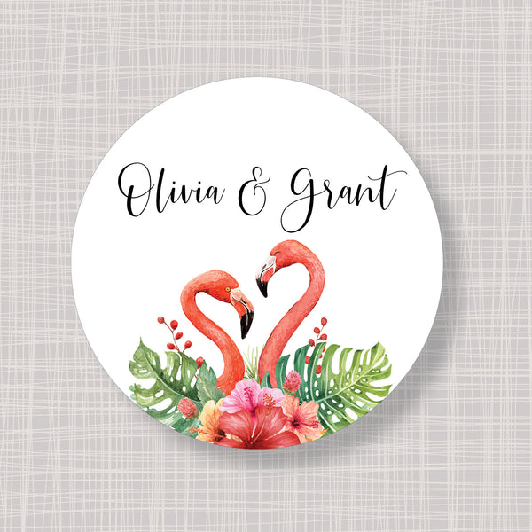 "Tropical Flamingo Round 2"" Wedding Shower Gift Labels Stickers"