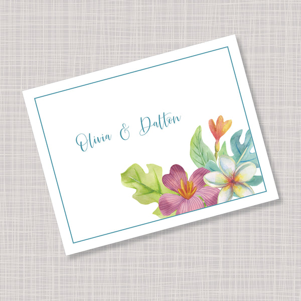 Tropical Hawaiian Flower Wedding Thank You Note Cards