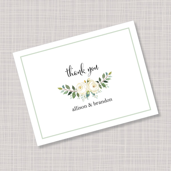 White Flower & Greenery Wedding Thank You Note Cards