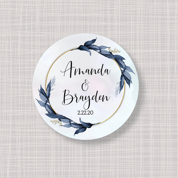 "Winter Blue & Gold Foliage Round 2"" Wedding Shower Gift Labels Stickers"