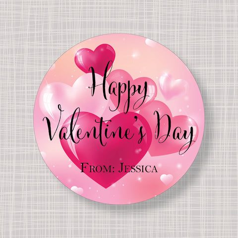 Valentine's Day Bubble Hearts Gift Labels Stickers