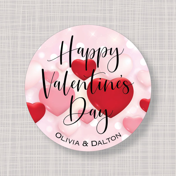 Valentine's Day Floating Hearts Gift Labels Stickers