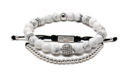 Men's Copenhagen White Howlite beaded braclet & Stavanger beaded bracelet with White Gold plating