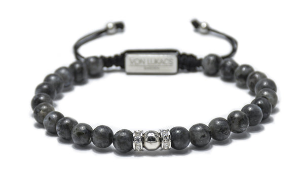 Men's Grey Labradorite one size beaded bracelet, white gold plated, CZ diamonds