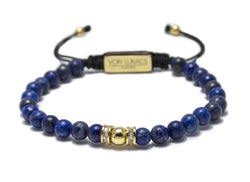 Men's adjustable wristband with Blue Lapis and Gold bead with CZ diamonds