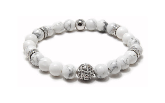 Men's Beaded Bracelet White Howlite,  CZ Diamond, White gold plated.