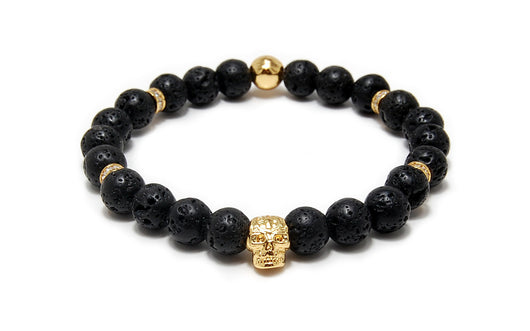 Men's beaded bracelet with golden skull, CZ diamonds, Black Lava beads