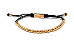 Mens adjustable bracelet 4mm gold beads