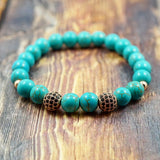 Rose Gold, CZ Diamond and Turquoise - 8mm GentStone Bracelet