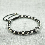 GentStone - Single Black CZ Diamond Ball Macrame - White Gold