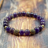 ellow Gold, Black CZ Diamond and Amethyst - 8mm GentStone Bracelet