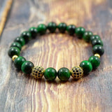 Yellow Gold, Black CZ Diamond and Green Tiger's Eye - 8mm GentStone Bracelet