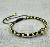 GentStone - Single Black CZ Diamond Ball Macrame - Yellow Gold