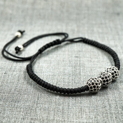 GentStone - Triple Black CZ Diamond Ball Macrame - White Gold