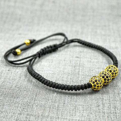 GentStone - Triple Black CZ Diamond Ball Macrame - Yellow Gold