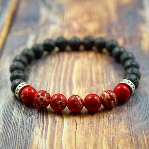 Red Sea Sediment Jasper & Lava Stone - 8mm GentStone Bracelet