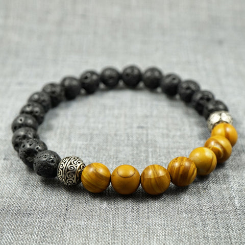 GentStone - Brown Agate & Lava Stone Charm