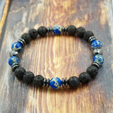 Blue Sea Sediment Jasper, Lava Stone and Hematite 8mm GentStone Men's Bracelet Women's Bracelet Handmade in Vancouver