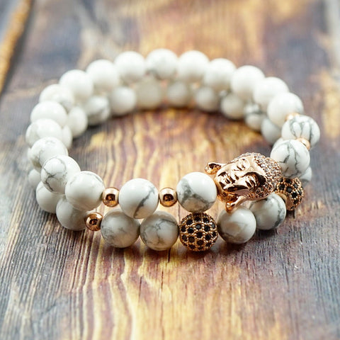 Bracelet Set - Lucky Buddha in Rose Gold, CZ Diamond and Howlite - 8mm GentStone Bracelet