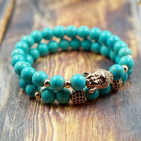 Bracelet Set - Lucky Buddha in Rose Gold, CZ Diamond and Turquoise - 8mm GentStone Bracelet