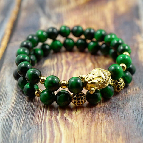 Bracelet Set - Lucky Buddha in Yellow Gold, CZ Diamond and Green Tiger's Eye - 8mm GentStone Bracelet