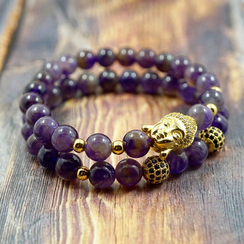 Bracelet Set - Lucky Buddha in Yellow Gold, CZ Diamond and Amethyst GentStone Bracelet