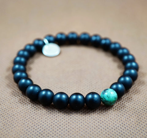 Matte Onyx, African Turquoise and Sterling Silver Charm