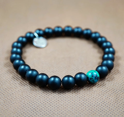 Matte Onyx, Azurite Chrysocolla and White Gold Charm