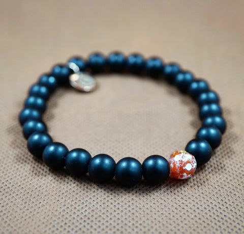 Matte Onyx, Fire Agate and Rose Gold Charm