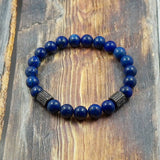 Gunmetal, CZ Diamond and Lapis Lazuli - 8mm GentStone Handmade Men's Bracelet Women's Bracelet