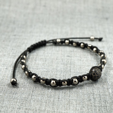 GentStone - Single Black CZ Diamond Ball Macrame - Gunmetal