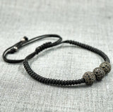 GentStone - Triple Black CZ Diamond Ball Macrame - Gunmetal