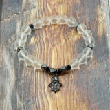 Hamsa in Gunmetal, CZ Diamond, Clear Quartz and Pyrite - 8mm GentStone Handmade Men's Bracelet Women's Bracelet