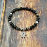 Hamsa in White Gold, CZ Diamond, Matte Onyx and Pyrite - 6mm GentStone Handmade Women's Bracelet Men's Bracelet