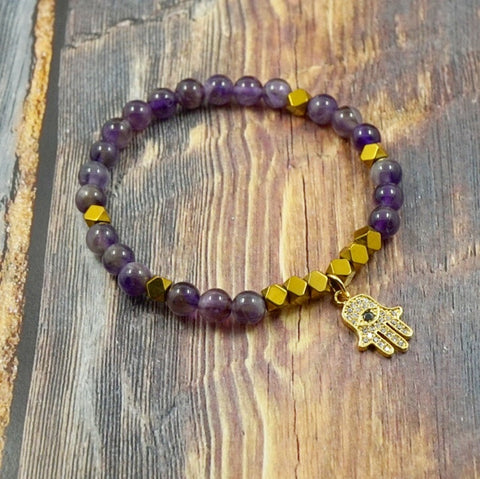 Hamsa in Yellow Gold, CZ Diamond, Amethyst and Pyrite - 6mm GentStone Handmade Women's Bracelet Made in Vancouver