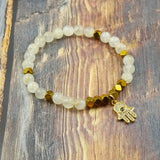 Hamsa in Yellow Gold, CZ Diamond, Moonstone and Pyrite - 6mm GentStone Handmade Women's Bracelet Hand of Fatima