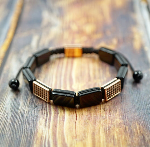GentStone Men's Bracelet - Rose Gold, Black CZ Diamond & Flat Onyx Macrame